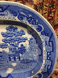 Antique Blue Willow Platter Staffordshire Transferware x Marked Early to mid century