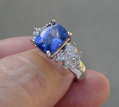 NATURAL 3.12 ct Tanzanite Diamond Ring 14k White Gold Tanzanite Solitaire Statement Cocktail Ring Mother's Day $1199