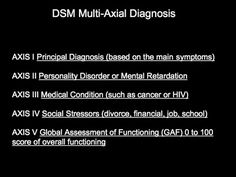 Diagnostic and Statistical Manual of Mental Disorders - DSM - Axial Diagnosis  Axis I - Major Disorders (presenting problem) Axis II - Personality Disorders Axis III - General Medical Conditions Axis IV - Psychosocial Problems Axis V - Global Assessment of Functioning Score (GAF)  http://3.bp.blogspot.com/-h5eiLzVziE4/UHIGPyJPHAI/AAAAAAAAAFI/p5zN4mgq-cM/s1600/DSM%2BAXIS.jpg