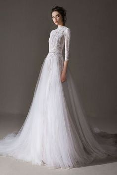 Classy is the New Skimpy: 20 Elegant Long Sleeve Wedding Dress Designs - A long sleeve wedding dress can be both classical and contemporary. A well-fitting choice for your dream wedding, here are some finest designs to start! Lace Bridal, Wedding Dress Organza, Wedding Dress Sleeves, Long Sleeve Wedding, Modest Wedding Dresses, Tulle Wedding, Designer Wedding Dresses, Bridal Dresses, Wedding Gowns