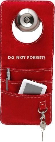 Doorganizer ~ hanging reminder and organizer for the doorknob. Ideal for keys, eyeglasses, cell phones, palm-held devices and music players
