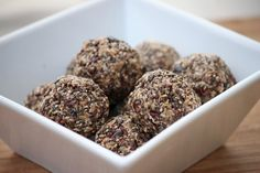 Superfood Energy Snacks - 1/2 cup of shredded unsweetened coconut 1/2 cup of chia seeds 1/2 cup of raw chocolate nibs (your local health food store will have these) 1/2 cup almond butter 2 tbs of honey 1 tsp of cinnamon