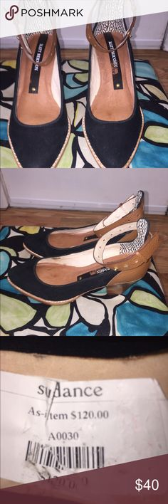 Sundance leather and suede heels Sundance leather and suede heels. Fully functional but missing a small rivet, never worn, new with tags. sundance outlet Shoes Heels