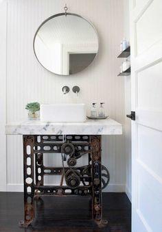 Machinery Inspired Industrial Bathroom Vanity decor via Antonio Martins Industrial Bathroom Vanity, Half Bathroom Decor, Bathroom Styling, Bathroom Ideas, Bathroom Designs, Bathroom Renovations, Bathroom Showrooms, Bathroom Showers, White Bathroom