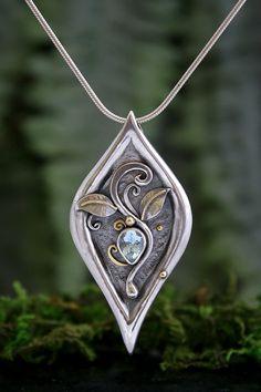 Venus, Aquamarine Gold and Silver Pendant