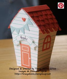 Beach hut treat box created using the Home Sweet Home Thinlits Dies and Sweet Home Stamp Set bundle from the Stampin' Up! 2016 Holiday Catalogue.  http://tracyelsom.stampinup.net