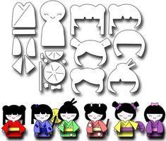 Image result for kokeshi japanese paper doll die set