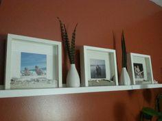 Vacation sand in IKEA shadow box frames.  Great keepsake idea for resort bracelets, shells,  wine corks etc.
