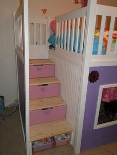 playhouse loft bed with stairs and slide | do it yourself home