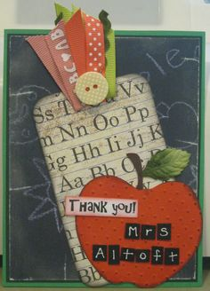 """""""Thank You, Teacher"""" Card With Tag Chalkboard Paper Teacher Thank You Cards, Teacher Gifts, School Teacher, School Days, Chalkboard Paper, Vintage School, Vintage Cards, Sell On Etsy, Teacher Appreciation"""