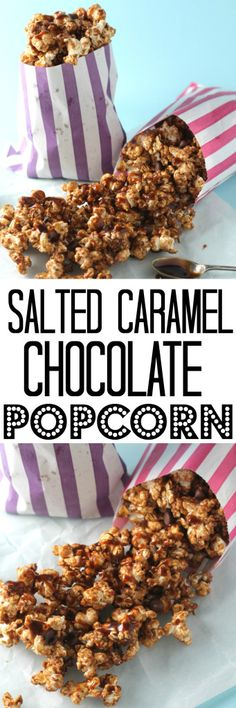 A delicious sweet and salty snack of homemade popcorn topped with salted caramel sauce and dark chocolate chips