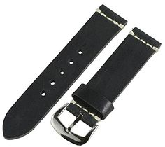 Clockwork Synergy Dapper Collection  22mm Black Worn Leather Watch Band -- Click image for more details.