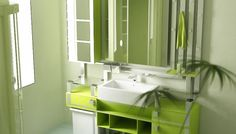 Bathroom Modern Bathroom Green And White Plus Lighting Rectangular Vessel Sink Also Frameless Wall Mirror Idea And Attractive Vanity Storage Unit Design Perfect Lightning Ideas To Create Bathroom More Glamour