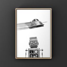 This listing is for one Unframed Photo on photo paper or Stretched canvas (Ready to hang) of A Retro Tin Robot and Flying Saucer. Please select either photo or canvas as well as the size youd like from the drop down menu as you place it in your cart. Pricing is also available there. PHOTOS are Vintage Sports Decor, Outer Space Decorations, Canvas Wall Art, Canvas Prints, Retro Robot, Professional Photo Lab, Flying Saucer, Boys Room Decor, Stretched Canvas