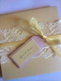 Lace, ribbon and tag pocketfold wedding invitation by Made Marvellous Handmade Wedding Invitations, Lace Ribbon, Invites, Invitations, Homemade Wedding Invitations, Lace Tape, Wedding Cards Handmade
