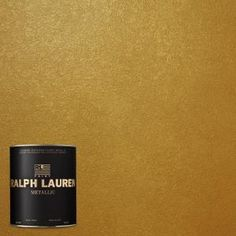 Lend a shimmering richness to classic color to your wall with this Ralph Lauren Parlor Gold Metallic Specialty Finish Interior Paint. Metallic Gold Wall Paint, Gold Painted Walls, Gold Paint Colors, Gold Walls, Wall Colors, Gold Interior, Interior Paint, Interior Design, Ralph Lauren Paint Colors