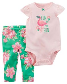 Baby Girl 2-Piece Bodysuit & Pant Set  Crafted in super soft cotton with a cute slogan, this 2-piece set keeps her cute and comfy for all-day play.