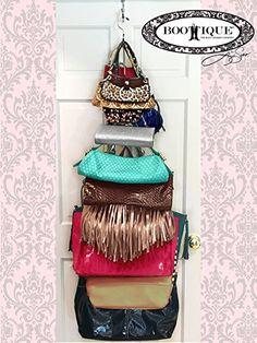 Hanging Purse Storage - Purse Stax, Over the Door Hanging Closet Organizer  for Purses,