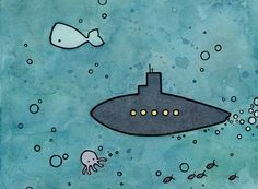 Whale and Sub, watercolor, 2011