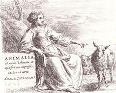 Nicholas Berchem - Animalia - Lady and Sheep - Etching
