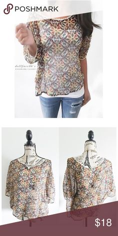 """Vintage Boho Styled Semi Sheer Lace Trim Top This semi sheer top has a pretty vintage inspired boho print with a cream delicate lace trim & slightly dolman styled sleeves. It's a gorgeous top great for adding a touch of boho to an outfit. {actual color of item may vary slightly from pics}  *chest:29.5"""" *waist:26.5"""" *length:20""""/23.5"""" *sleeves:15.5"""" *material/care:machine wash/100%polyester *fit:true *condition:good/no rips/stains  20% off bundles of 3/more items No Trades  NO HOLDS No…"""