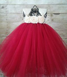 Deep Red and Ivory Flower Girl Dress Flower by GigglesandWiggles1