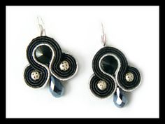 Soutache earrings Swarovski crystals silver black by Mayasbijou €12.15 EUR on Etsy.com
