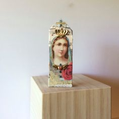 wooden mixed media shrine of the virgin mary  by DianaDDarden