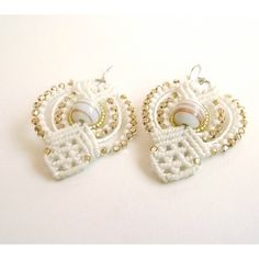 Macrame Earrings In Ivory With White And Gold Beads, Bridal Earrings,... ($35) ❤ liked on Polyvore featuring jewelry, earrings, macrame jewelry, crochet jewelry, gold bead earrings, bridal earrings and bride earrings