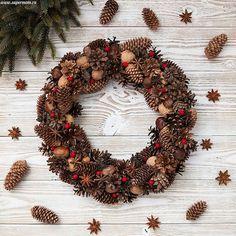 Christmas wreath Holiday Wreath Winter Wreath Door by LeraLem Autumn Wreaths, Holiday Wreaths, Christmas Projects, Christmas Home, New Year Diy, Decoration Shabby, Navidad Diy, Ideas Navidad, Pine Cone Decorations