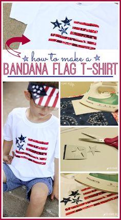 how to make a Bandana Flag T-Shirt - fun patriotic red white blue craft idea for summer - - Sugar Bee Crafts Summer Crafts, Holiday Crafts, Holiday Fun, Summer Fun, Holiday Wear, Holiday Activities, Holiday Decorations, Easter Crafts, Birthday Decorations