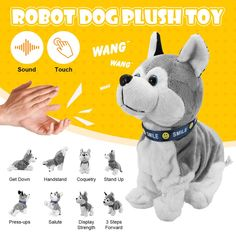 Electronic Robot Dog Sound Control Interactive Bark Stand Walk Toy A Baby Gift Dog Sounds, Interactive Dog Toys, Smart Robot, Hobby Toys, Toy Puppies, Dogs And Kids, Electronic Toys, Kids Gifts, Baby Gifts