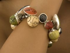 Singing Bowls Bracelet: Mary Filapek and Lou Ann Townsend: Silver & Polymer Bracelet - The Artful Home