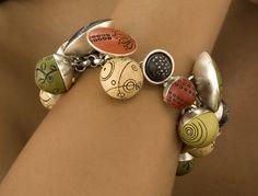 Singing Bowls Bracelet: Mary Filapek and Lou Ann Townsend: Silver & Polymer Bracelet - The Artful Home