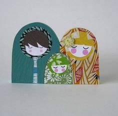 Modern Holy Family Paper Ornaments.  Christmas Decoration.  Mary, Joseph & Jesus.  Origami Papercraft.