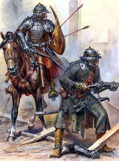 Elite Royal Army Troops Polish hussar and Musketeer at the battle of Vienna Armadura Medieval, Medieval Armor, Medieval Fantasy, Templer, Landsknecht, 3d Fantasy, Knight Armor, Dark Ages, Military Art