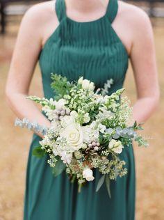 Rustic greenery and rose wedding bouquet: http://www.stylemepretty.com/georgia-weddings/douglasville/2017/01/25/southern-winter-wedding/ Photography: Shauna Veasey - http://www.shaunaveaseyphotography.com/