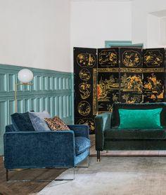 Dark sophistication   Dark blue velvet armchair   Dark green velvet sofa   IKEA Mellby armchair with a velvet Bemz cover   IKEA Karlstad sofa with a Bemz cover in velvet