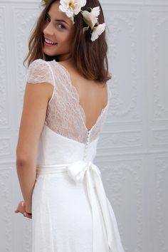 A-Line / Princess V-neck Sweep Train Ribbons / Fabric Waistline - The Best Lace Dress Trends for 2019 French Wedding Dress, Wedding Dress Sash, 2015 Wedding Dresses, Designer Wedding Dresses, Wedding Attire, Wedding Gowns, Lace Wedding, Lace Dress, White Dress