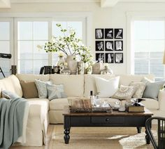 Love the summer color scheme and the sofa table vignette.