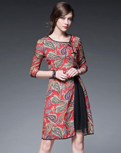 Asymmetric Chiffon Midi Dress, Red, FLENKIY | VIPme