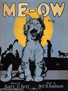 Cat Singing Me OW Theatre Song USA Vintage Repro Poster | eBay