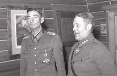 German Colonel General Dietl, distinguished commander of alpine troops, with Finnish Colonel Willamo, Finland, Sep 1943.