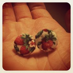 Vintage fabric button stud earrings