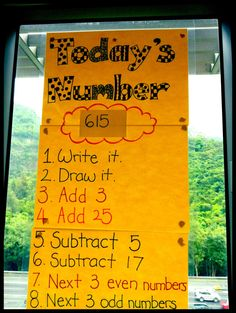 This is a fun and interactive morning work activity that provides students with the opportunity to practice multiple mathematical concepts in a single activity. Students are given the day's number (ex. 615) and asked to complete several activities involving that number. These activities can range from adding and subtracting numbers to finding percentages and fractions of the daily number.