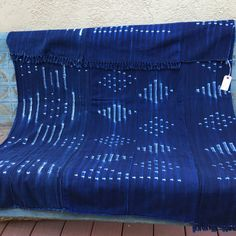 African Shibori Indigo SALE Mud Cloth 53 inches by MorrisseyFabric