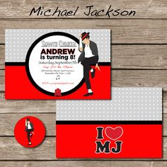 Michael jackson birthday party michael jackson party michael michael jackson party invitation with envelope seal printable file pdf printable party stopboris Choice Image