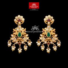 Mesmerizing collection of gold earrings from Kameswari Jewellers. Shop for designer gold earrings, traditional diamond earrings and bridal earrings collections online. Gold Bangles Design, Gold Earrings Designs, Gold Jewellery Design, Necklace Designs, Bead Jewellery, Temple Jewellery, Beaded Jewelry, Hanging Earrings, Buy Earrings