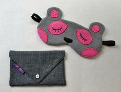 Kawaii bear sleeping mask to fly with class - handmade via Etsy