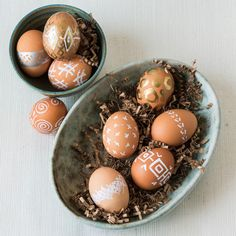 Paint Pen Eggs - 25 Easy Spring Decorating Ideas We're DIYing this Weekend - Southernliving. No need to fuss with messy dye this year. Grab a few paint pens and get to decorating.  Watch the tutorial.